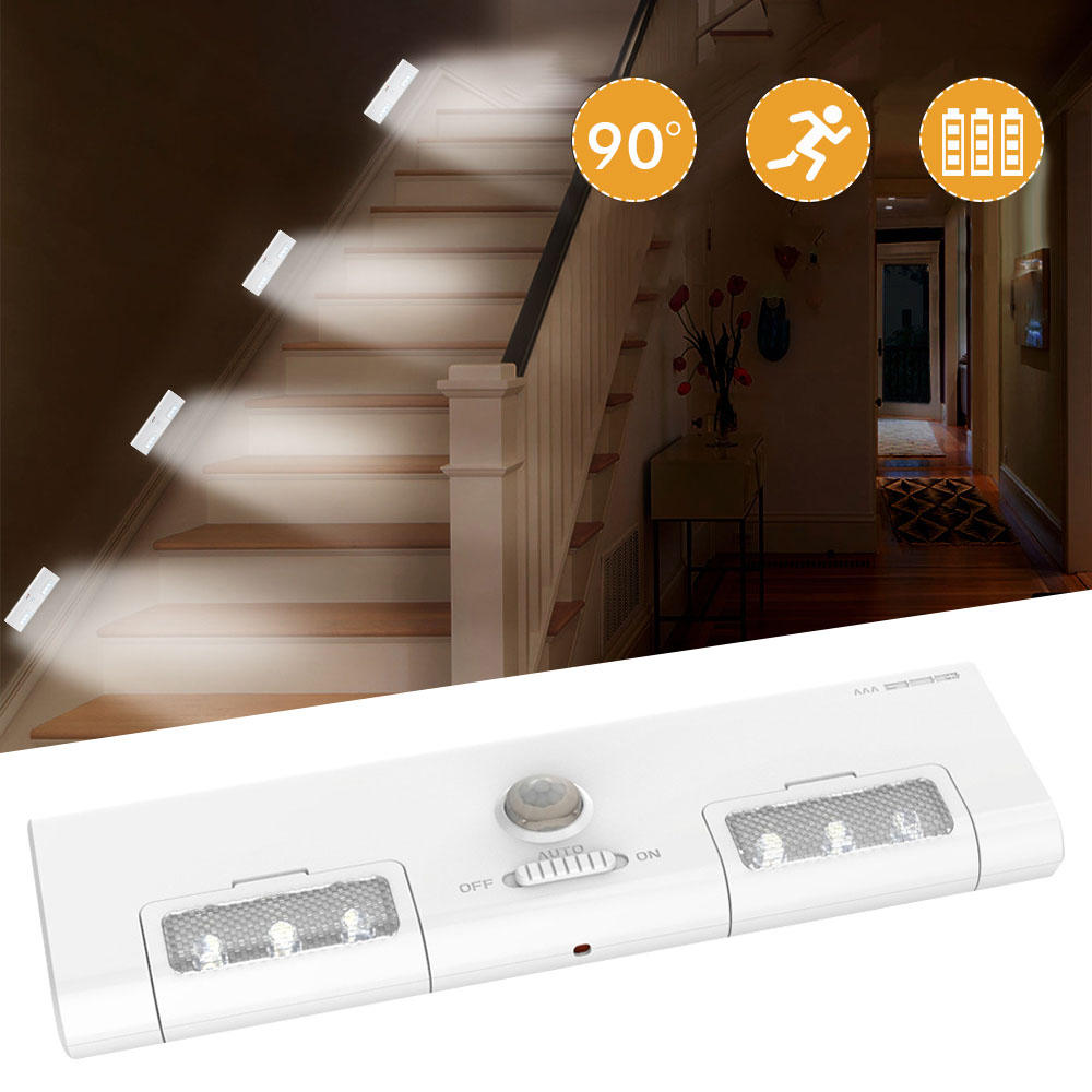 [Battery Operated] KCASA KC-LT1 LED Wireless PIR Motion Sensor Cabinet Cupboard Closet Light Lamp 6 LED 90° Light Angle for Home/Garage/Entrance/Hallway/Basement - Tazooly
