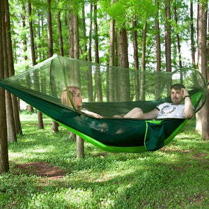Outdoor Automatic Quick Open Portable Camping Hammock with Mosquito Double Parachute Hammocks Swing Sleeping Hammock Bed with Net Tent - Tazooly