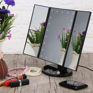 Led Makeup Vanity Mirror Tri Fold 10x Magnifying Mirror with Lights - Tazooly