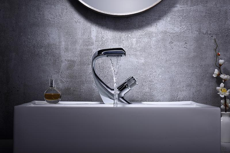 Annetta - Modern Chrome Plated Solid Brass Waterfall Spout Bathroom Faucet