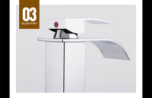 Val - Deck Mounted Waterfall Spout Chrome Bathroom Faucet
