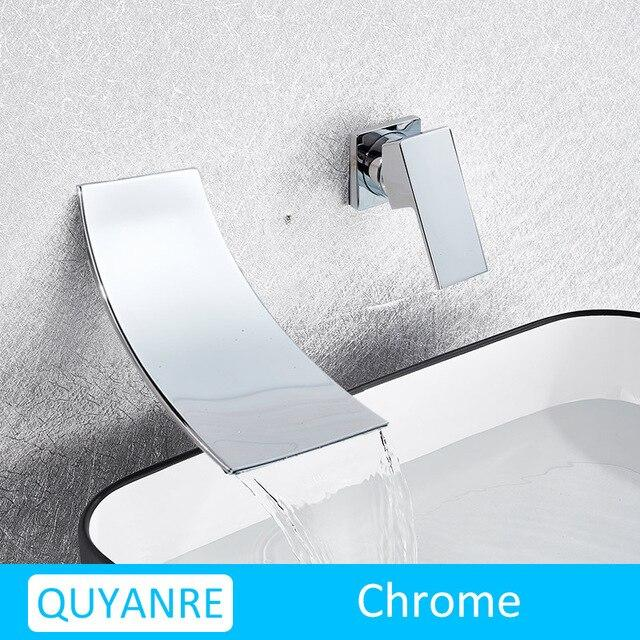 Leon - Chrome Wall Mount Waterfall Flow Single Handle Faucet