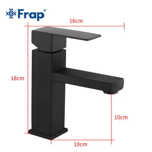 Delmer - Black Stainless Steel Square Bathroom Faucet