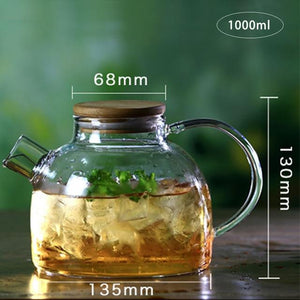 Glass Water Pitcher with Lid & Filter, 1000ML - 1800ML