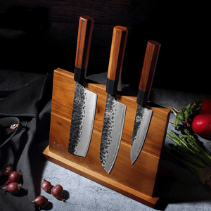 Large Acacia Wood Magnetic Knife Block with Powerful Magnet