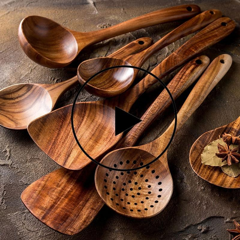 Natural Wood Tableware Spoon Set