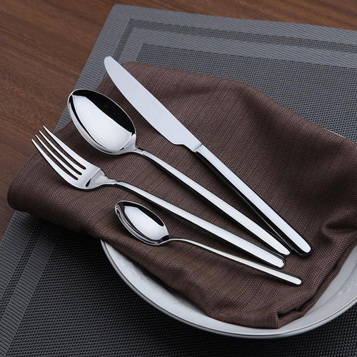 24 Piece Classic Dinnerware Set Stainless Steel