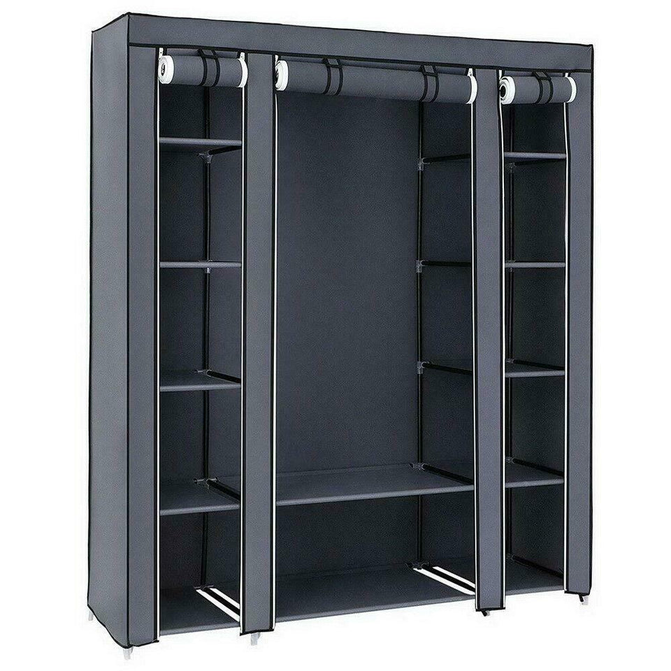 Portable Closet Wardrobe And Clothes Rack, Great Storage Organizer With Shelf - Durable
