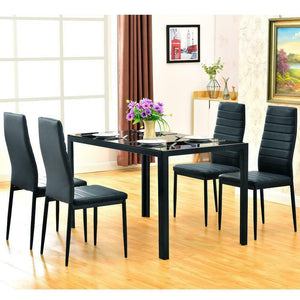 5 Pcs Modern Metal/Glass Dining Set