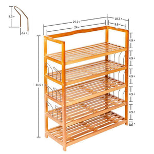 5-Tier Wooden Shoe Rack Shelf Storage Organizer Entryway Home Furniture Modern