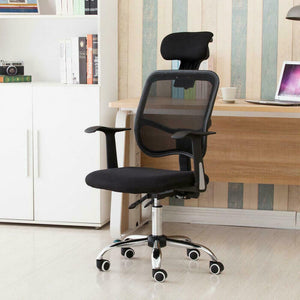 Adjustable Mesh High Back Office Chair Computer Desk Seat w/ Headrest - Black