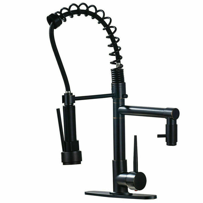 Oil Rubbed Bronze Kitchen Sink Faucet Pull Down Sprayer Swivel With Cover Plate