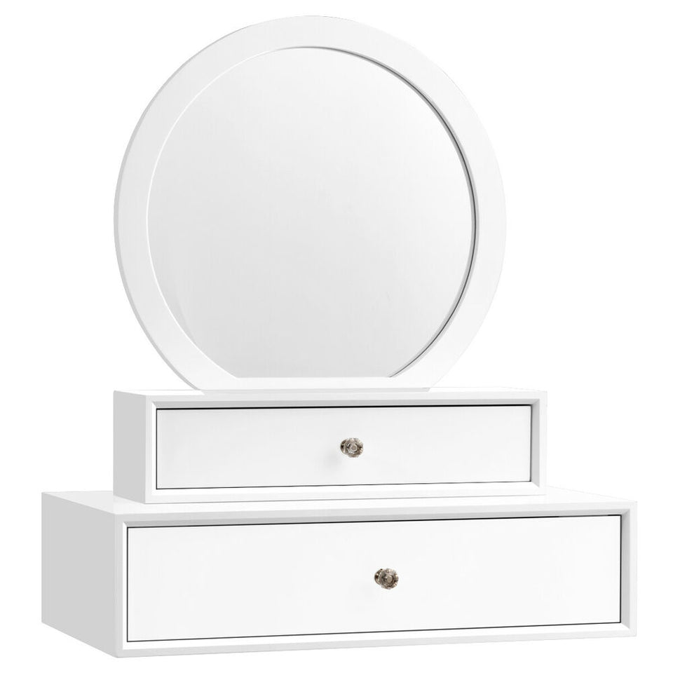 Wall Mounted Vanity Desk Mirror Dressing Makeup Table w/2 Drawers Bedroom -  White
