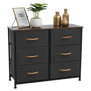 Multipurpose 6 Drawer Dresser - Fabric Chests Cabinet Storage Organizer For Bedroom