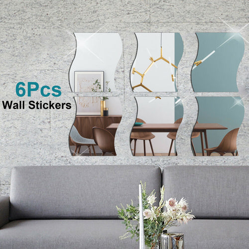 6 PCS 3D Mirror Wall Sticker Waves Shape