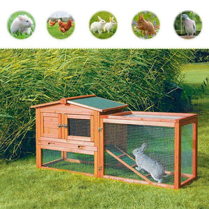 "61""Wooden Rabbit Hutch, Chicken Coop, Animal Cage, Pet  House"