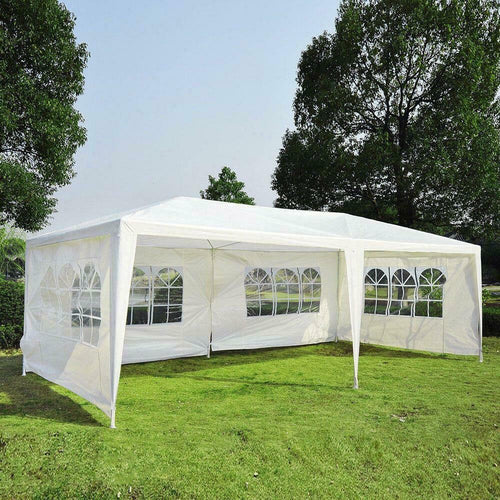10'x20' Party Tent Outdoor Gazebo Canopy For Wedding With 4 Removable Walls-UPGRADE White