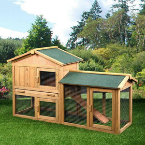 "61""Wooden Rabbit Hutch With Backyard Run Ramp"