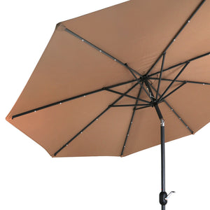 10' Patio Solar Umbrella with Crank and LED Lights