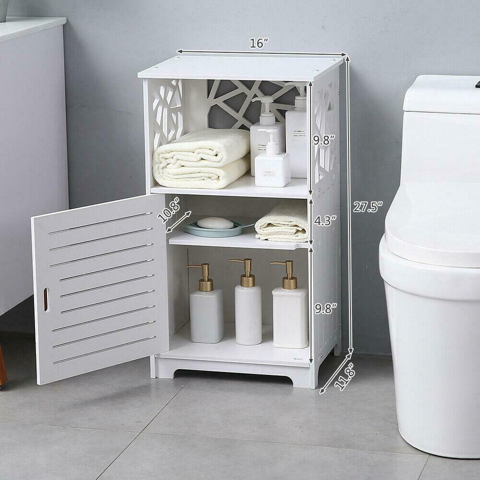 Bathroom Floor Storage Cabinet Side Table Adjustable Shelf Freestanding White