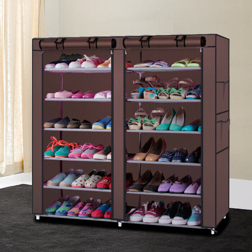 6 Tier 36 Pair Shoe Rack Shelf Storage Closet Cabinet with Cover Boots Organizer