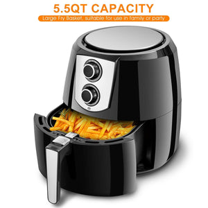 Oil Free Electric 1800W Air Fryer -Portable Oven With Temperature Control 5.5Qt 7 Preset - Tazooly