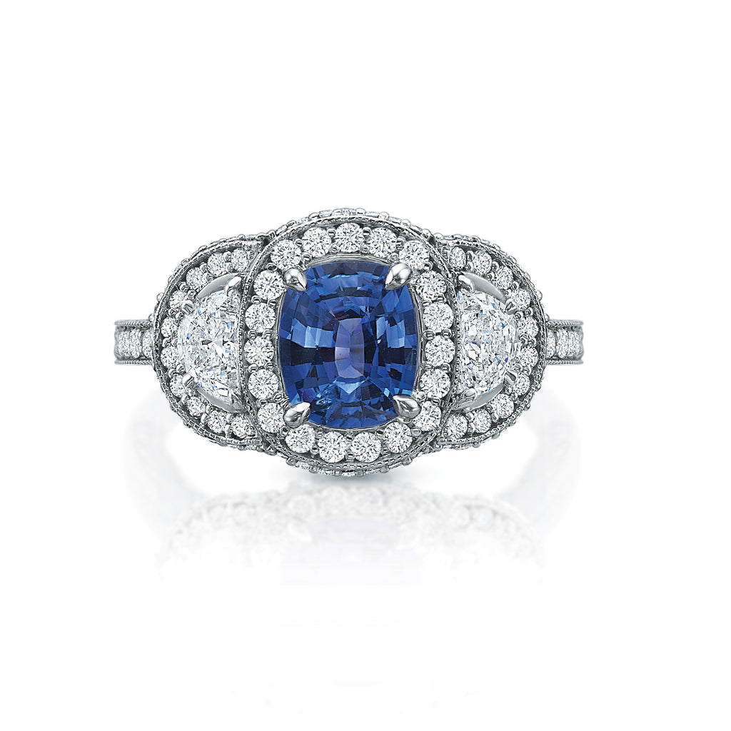 Sapphire and Moon Cut Diamond Ring