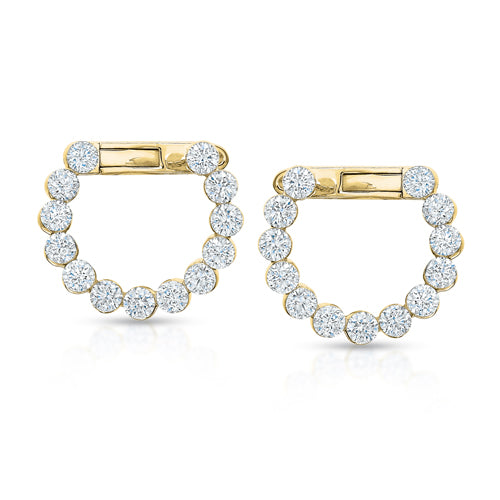 Invisible-Set Diamond Circle Earrings