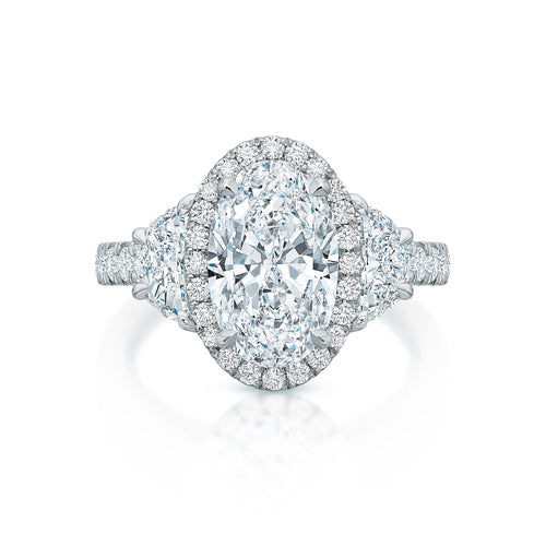 Kate Three-Stone Oval Halo