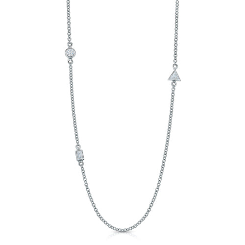 The Petite Bezel Set Station Necklace