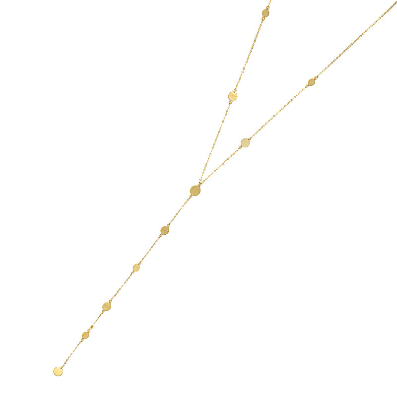 Gold Disc Station Lariat Necklace