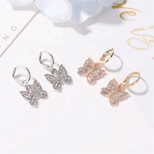 Load image into Gallery viewer, Gold and silver butterfly hoop earrings