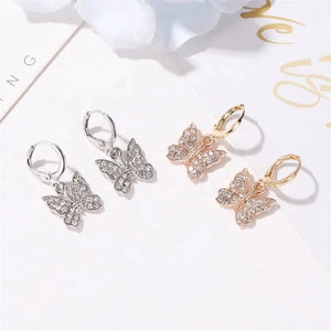 Gold and silver butterfly hoop earrings