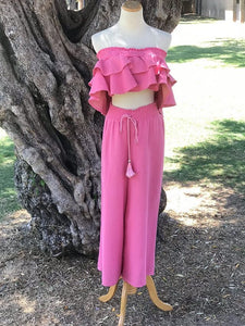 Pink Off Shoulder Top and Pants Set