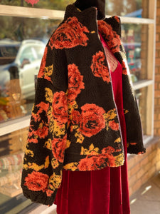 Black Floral Sherpa Fleece Jacket- Also in PLUS SIZE