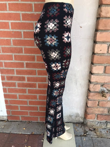 Crochet Print Bell Bottom Leggings