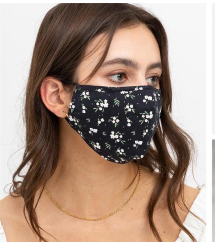Black and White Mini Floral Adjustable Mask