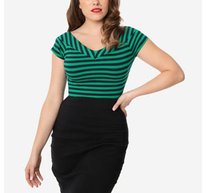 Green and Navy Striped Deena Top