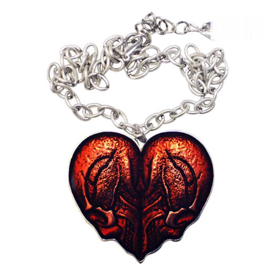 Double Skull Heart Pendant Necklace