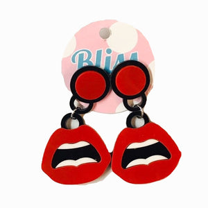 Red Open Mouth Acrylic Statement Earrings