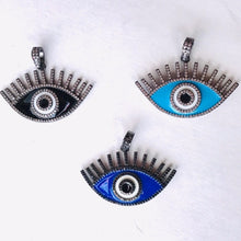 Load image into Gallery viewer, Evil Eye with Lashes Enamel Pendant