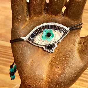 Teal sequin and beaded evil eye bracelet
