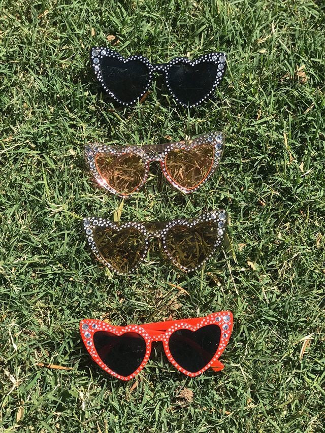 Cat Eye Heart Sunglasses with Silver Accents