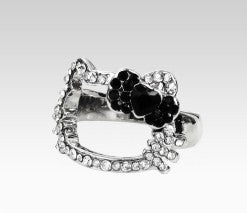 hello kitty outline ring black bow