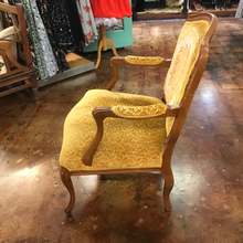 Load image into Gallery viewer, Vintage Tan Wood Arm Chair with Gold Velvet Cushions