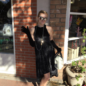 Black Velvet Tank Dress with Zipper Back- Medium LAST ONE!