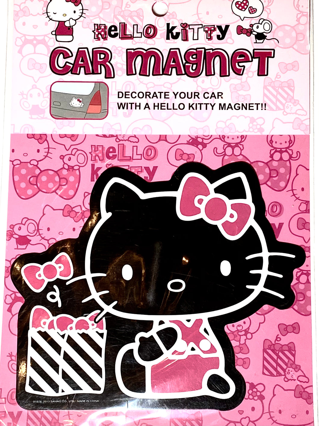 Hello Kitty with Bows in a Bag Car Magnet