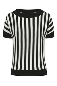 Joy Beetle Black and White Stripe Knitted Top