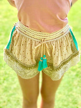 Load image into Gallery viewer, Lace eyelet shorts ecru teal tassel drawstring