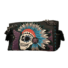 Load image into Gallery viewer, Black Skull with Feather Headdress Shoulder Bag